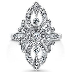 Sterling Silver Cubic Zirconia Art Deco Milgrain Cocktail Ring