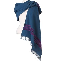 Rebozo Style in Azure Handwoven Cotton Shawl