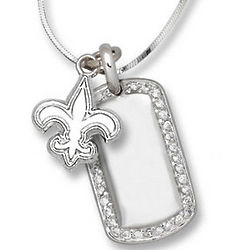 New Orleans Saints Sterling Silver Mini Dog Tag