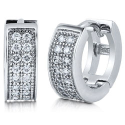 Sterling Silver Small Huggie Hoop Earrings in Cubic Zirconia