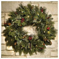 Cordless Prelit Holiday Wreath