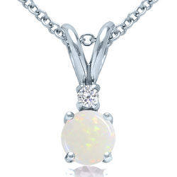 Opal and Diamond Solitaire Pendant in 14K White Gold