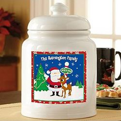 Personalized Santa and Rudolph Treat Jar