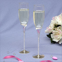 Rhinestone Stem Champagne Toasting Flutes