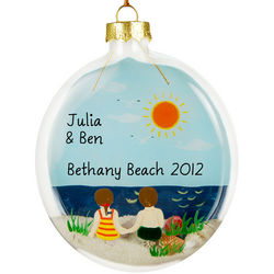 Personalized Boy & Girl Beach Glass Ornament
