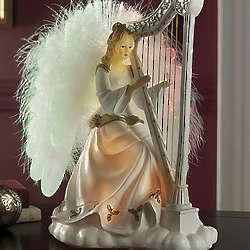 Musical Angel with Harp and Fiber Optics