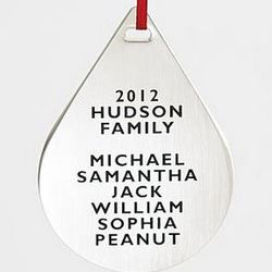 Teardrop Metal Ornament with Family Names