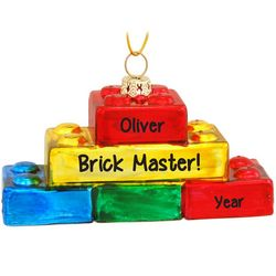 Personalized LEGO Blocks Glass Christmas Ornament