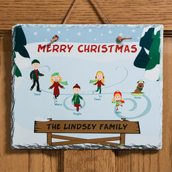 Ice Skating Family Character Personalized Slate Plaque