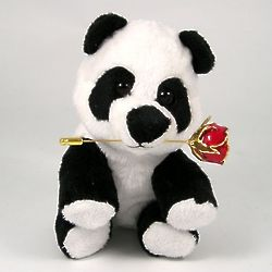 Plush Stuffed Panda Bear with Mini Gold Rose