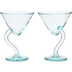 Twisted Stem 8-Ounce Martini Glasses