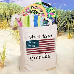 Custom Photo American Flag Tote Bag