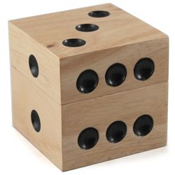 Dice-Shaped Wooden Storage Box with 10 Dice