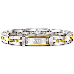 Men's Stainless Steel Bracelet with Diamonds and 24k Gold Accents