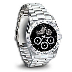 Stainless Steel Motorcycle Chronograph Watch
