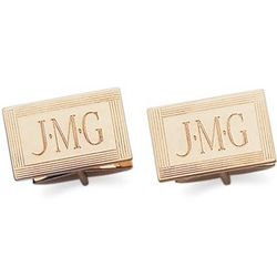 Engravable 14k Yellow Gold Cuff Links