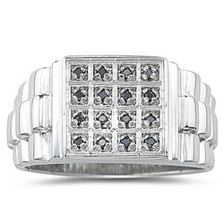 Black Diamond Mens Ring in Silver
