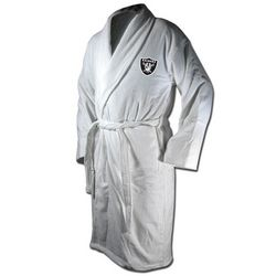 Oakland Raiders White Terrycloth Logo Bathrobe