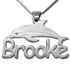 Personalized Children's Silver Dolphin Name Necklace