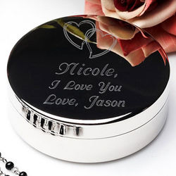 Personalized Our Hearts Silver Jewelry Box