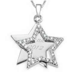 Sterling Silver and Cubic Zirconia Star Pendant