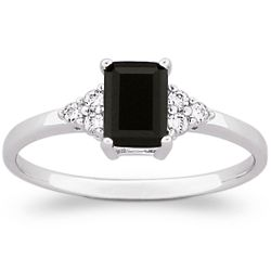 Sterling Silver Emerald-Cut Genuine Onyx and Cubic Zirconia Ring