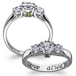 Sterling Silver Couple's Birthstone and CZ Promise Ring
