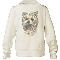 Yorkie Doggone Cute Embroidered Knit Jacket with Sequins