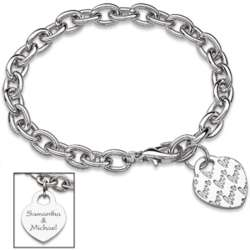 Silvertone Love Heart Charm Engraved Couple's Name Bracelet
