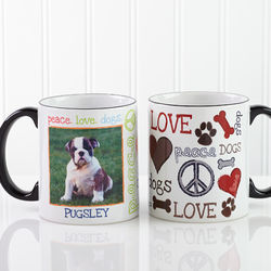 Peace, Love, Dogs Personalized Pet Coffee Mug with Black Handle