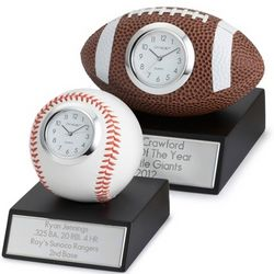 Sports Ball on Wood Base Clock