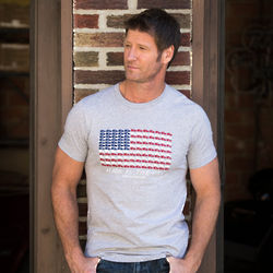 Men's 990 US Flag Graphic Athletic Grey T-Shirt