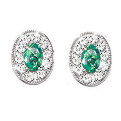 Emerald Oval Solitaire and 20-Diamond Earrings