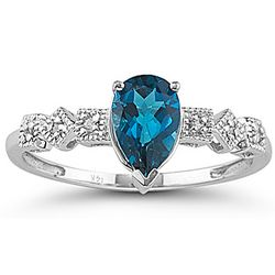 Diamond and London Blue Topaz Ring in 14K White Gold