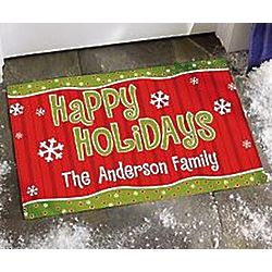 Personalized Happy Holidays Doormat