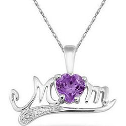 Amethyst and Diamond Mom Necklace in 10K White Gold