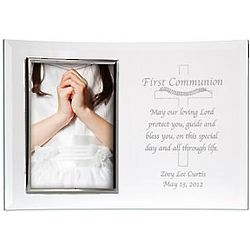 First Communion Personalized Beveled 5x7 Glass Frame