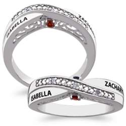 Sterling Silver Couple's Birthstone and Name Promise Ring