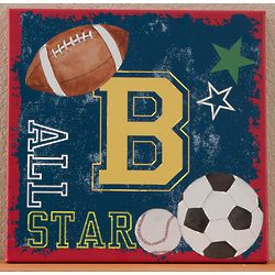 Boy's Monogrammed Sports Canvas Art Print