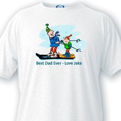 Customized Best Dad Ever Skiing T-Shirt