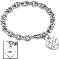 Silvertone Love Heart Charm Engraved Initial Bracelet