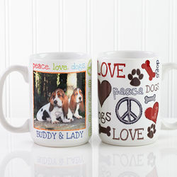 Large Personalized Peace, Love, Dogs Coffee Mug