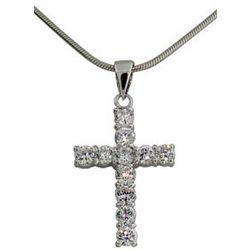 Tiffany Inspired Sterling Silver Cubic Zirconia Cross Pendant