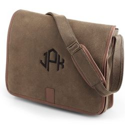 Brown Faux Suede Messenger Bag