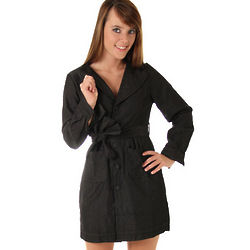 Black Denim Professional Trench Dress with Sash