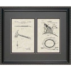 Framed 16x10 Fire Hatchet and Helmet Patent Art Print