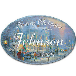 Thomas Kinkade Personalized Merry Christmas Welcome Sign