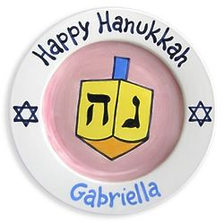 Girl's Personalized Hanukkah Dreidel Plate