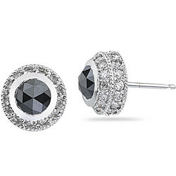 1.99 Cts Black & White Diamond Stud Earrings in 18K White Gold