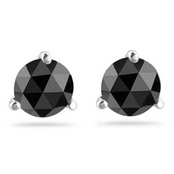 1/2 Ct Round Rose Cut Black Diamond Earrings in 14K White Gold